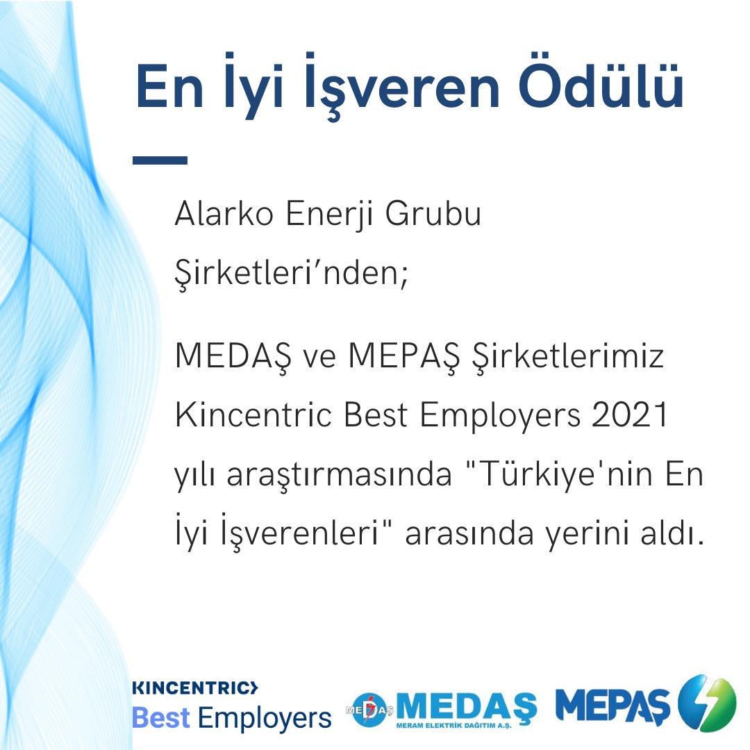 MEDAŞ ve MEPAŞ'a En İyi İşveren Ödülü
