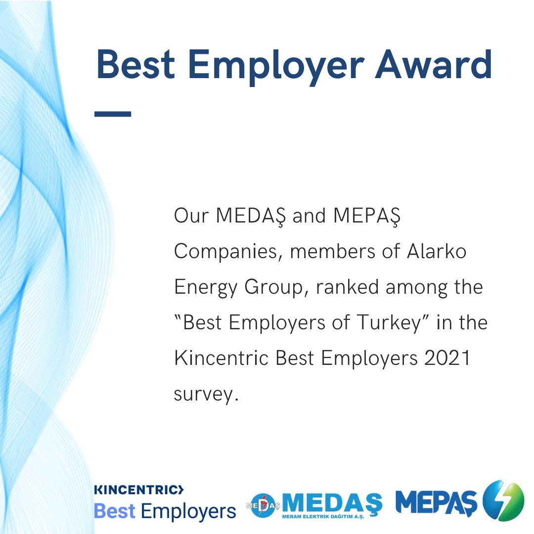 MEDAŞ and MEPAŞ Receive the Best Employer Award